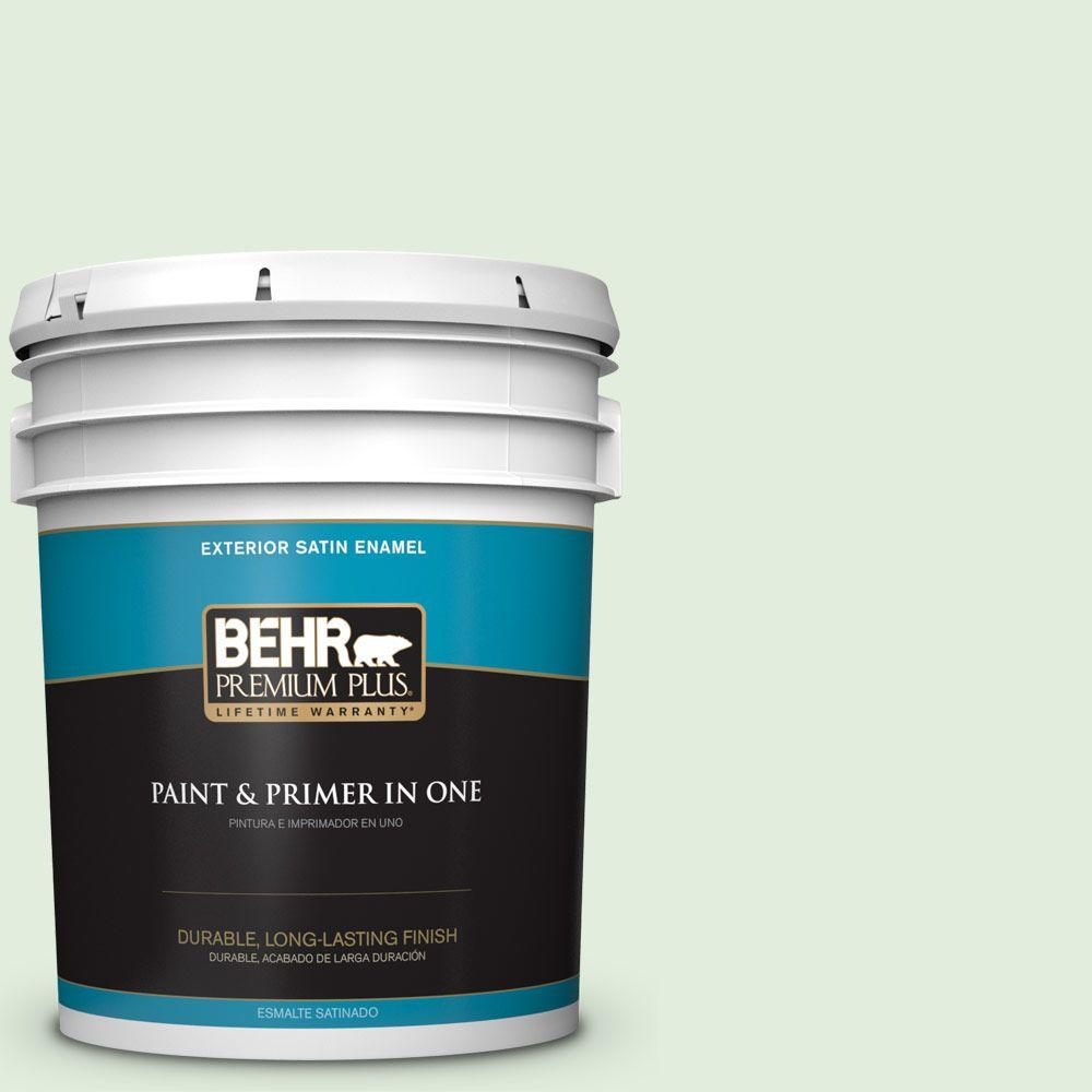 BEHR Premium Plus 5-gal. #M400-1 Establish Mint Satin Enamel Exterior Paint