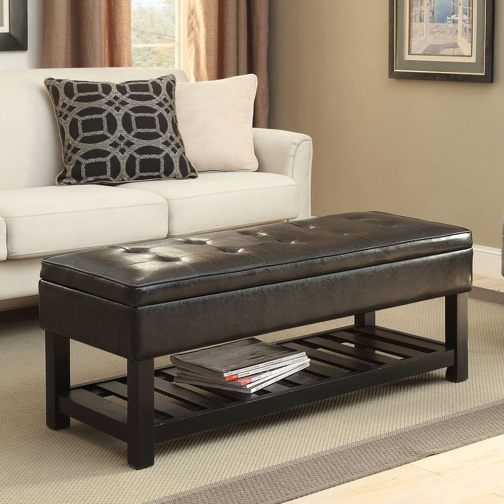 Simpli Home Cosmopolitan Rectangular Tufted Faux Leather Storage Ottoman Bench In Dark Brown Int
