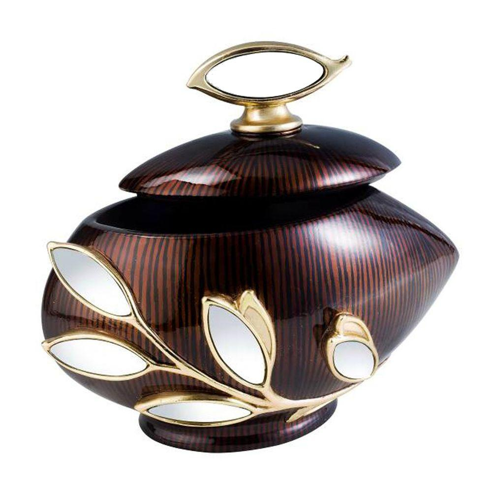 ORE International Laurel Topaz 6 in. x 7.75 in. Glass Leaf Decorative Box in Golden Brown