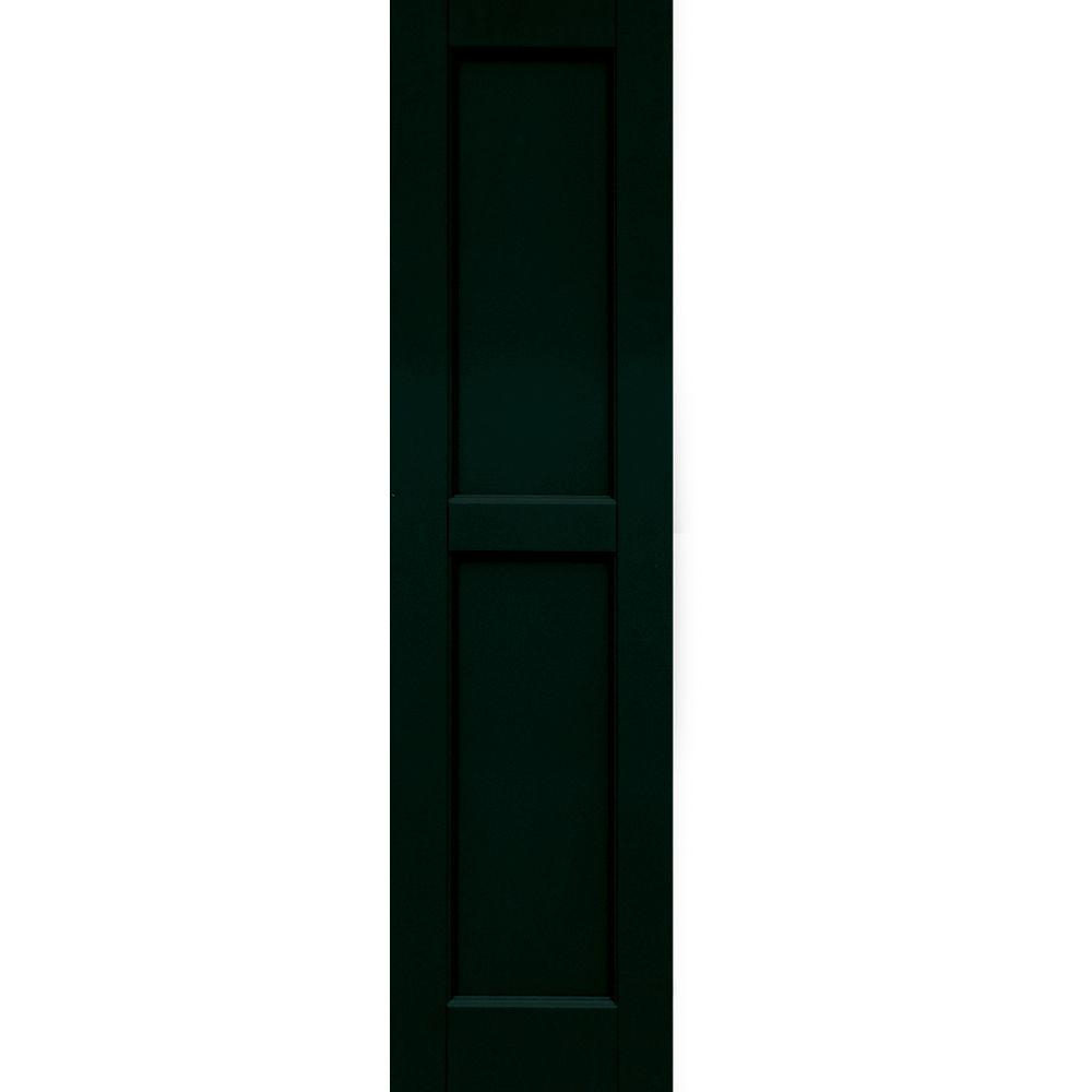 Winworks Wood Composite 12 in. x 47 in. Contemporary Flat Panel Shutters Pair #654 Rookwood Shutter Green