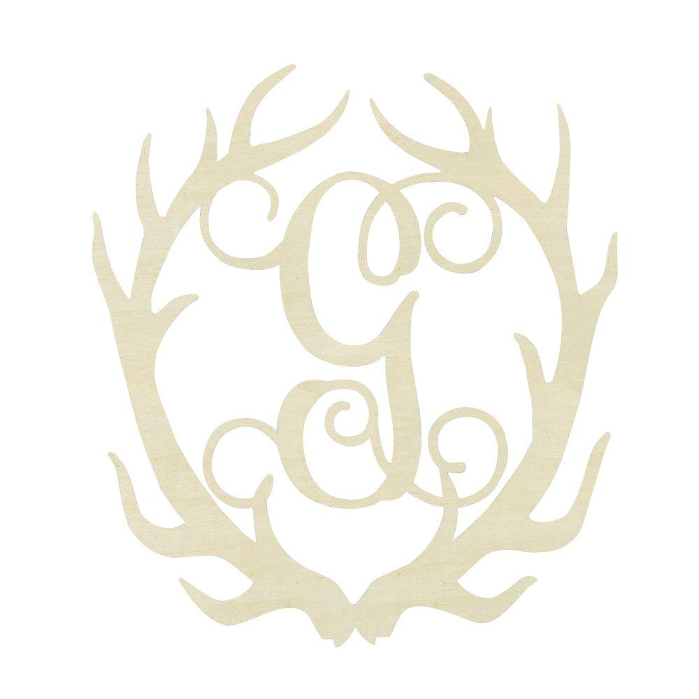 Jeff McWilliams Designs 19.5 in. Unfinished Antler Monogram (G)-300540 - The