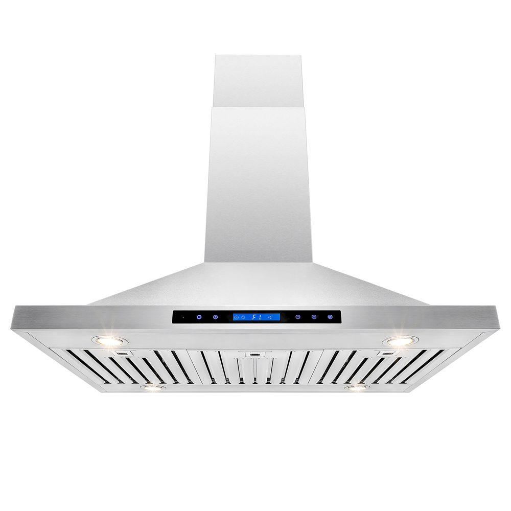 AKDY 42 in. Convertible Kitchen Island Mount Range Hood in Stainless