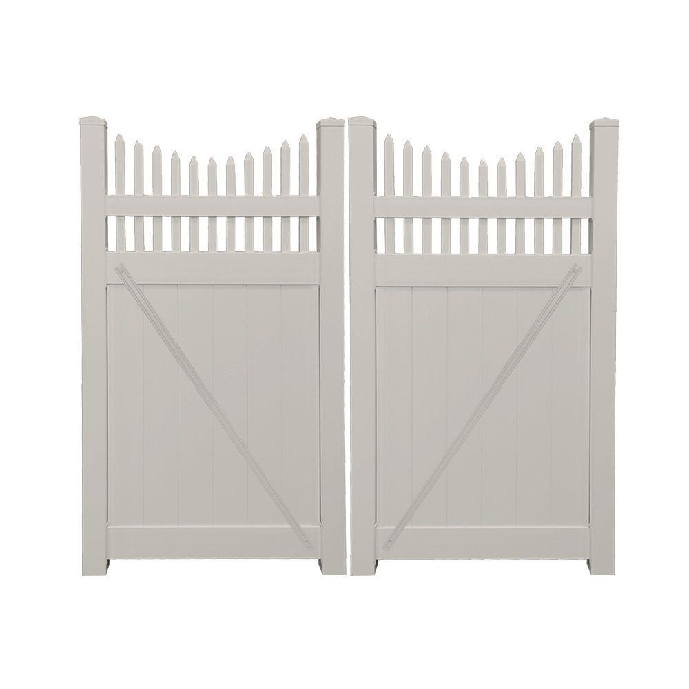 Halifax 7.4 ft. W x 6 ft. H Tan Vinyl Privacy Double Fence Gate