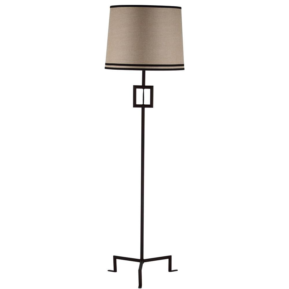 Safavieh Thom Filicia Hanover 63 in. Blacksmith Bronze Floor Lamp with Beige Shade