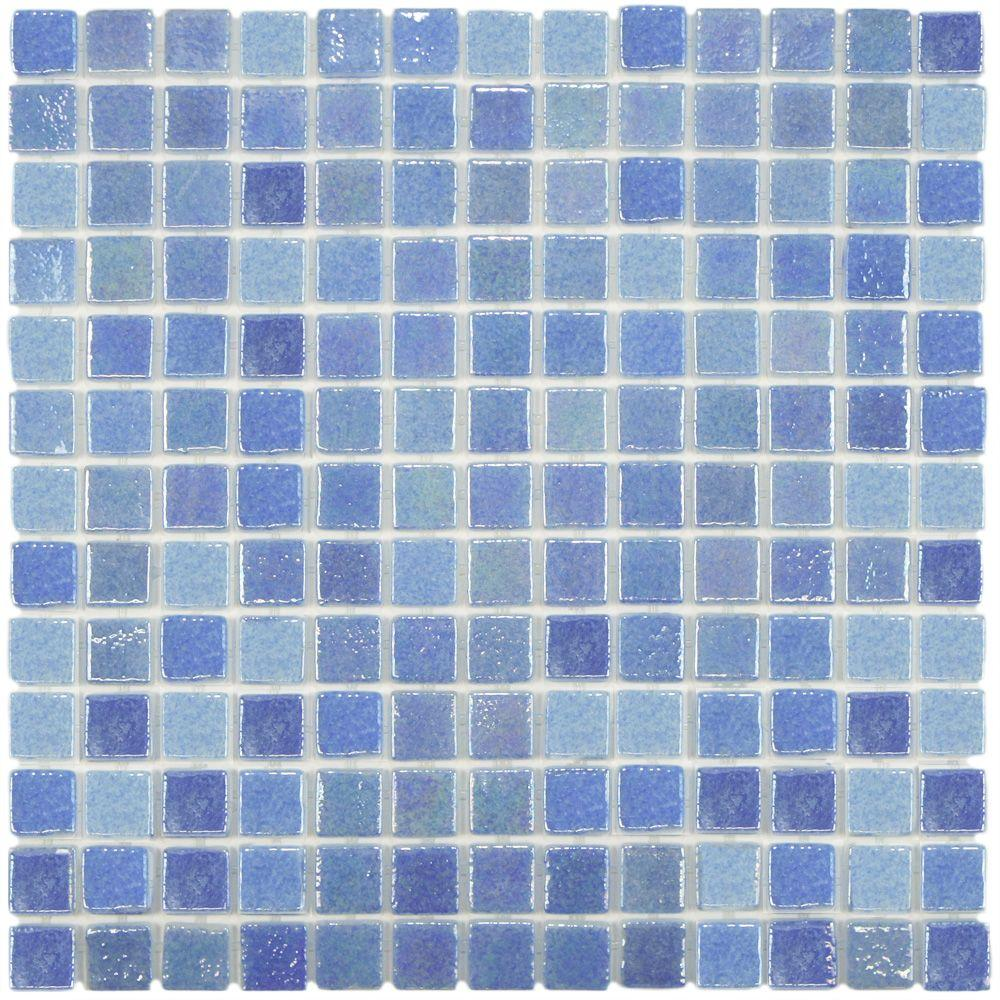 Merola Tile Ruidera Square Blue Pearl 13 in. x 13 in. x 5 mm Glass Mosaic Tile