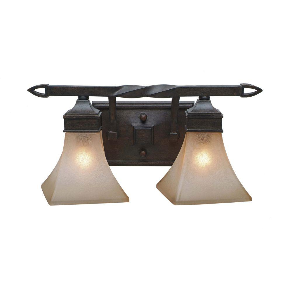 null Darcy Collection 2-Light Roan Timber Bath Vanity Light