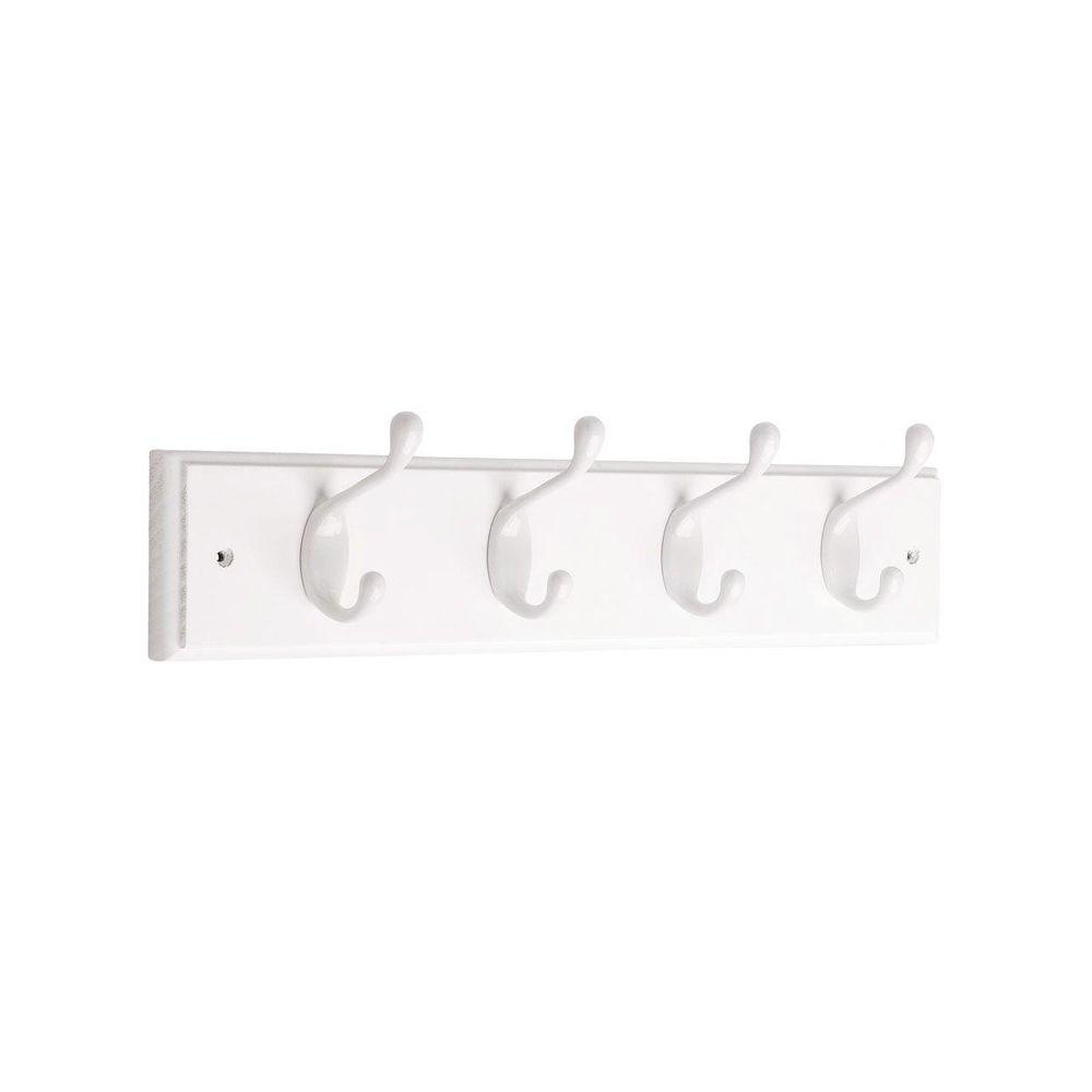 Liberty 18 in. White Heavy Duty Coat and Hat Hook Rack