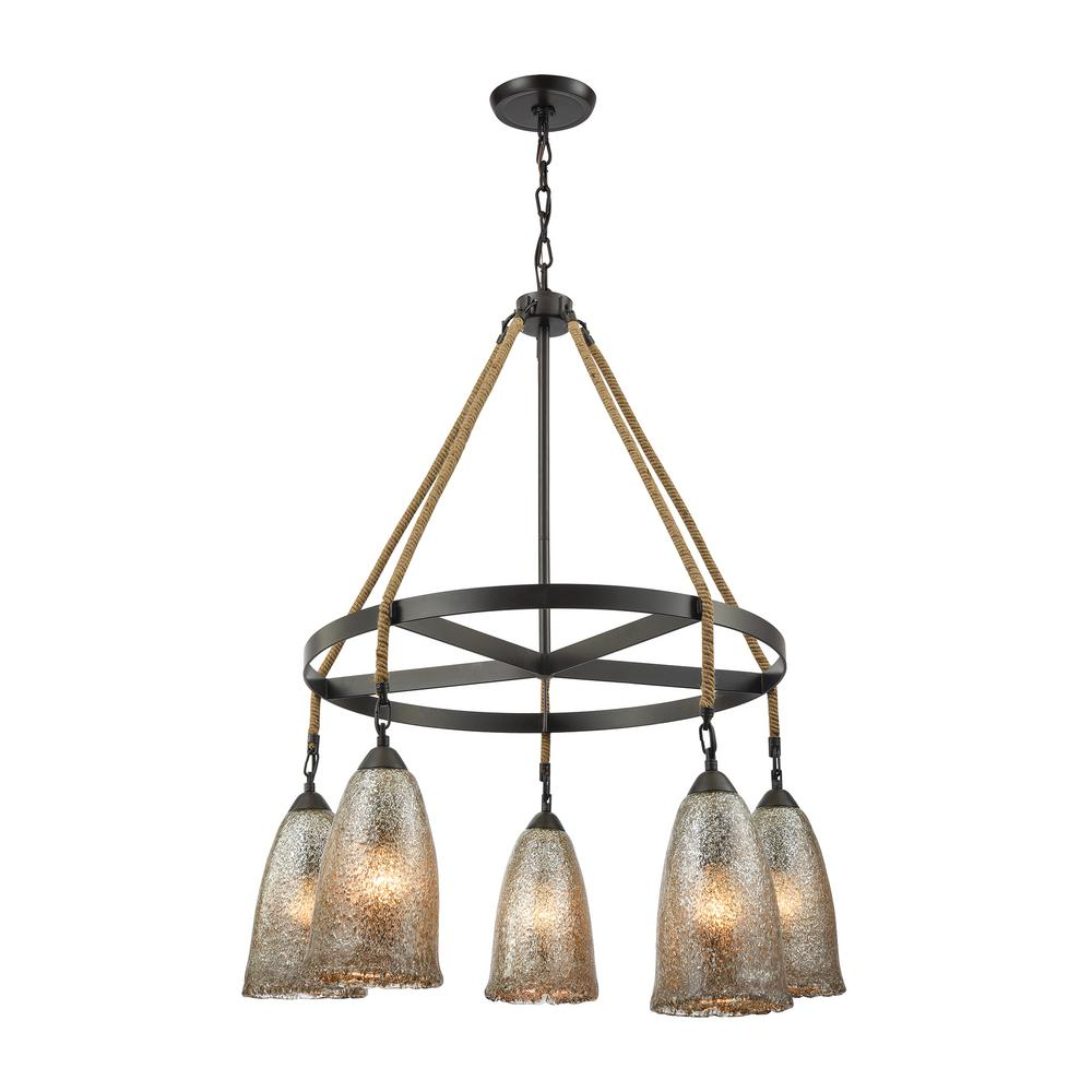 Hand Formed Glass 5-Light Oil Rubbed Bronze Chandelier with Antique Mercury
