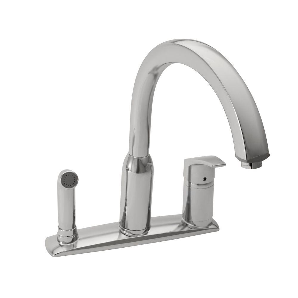 Arch Single-Handle Standard Kitchen Faucet with Side Sprayer in Stainless Steel