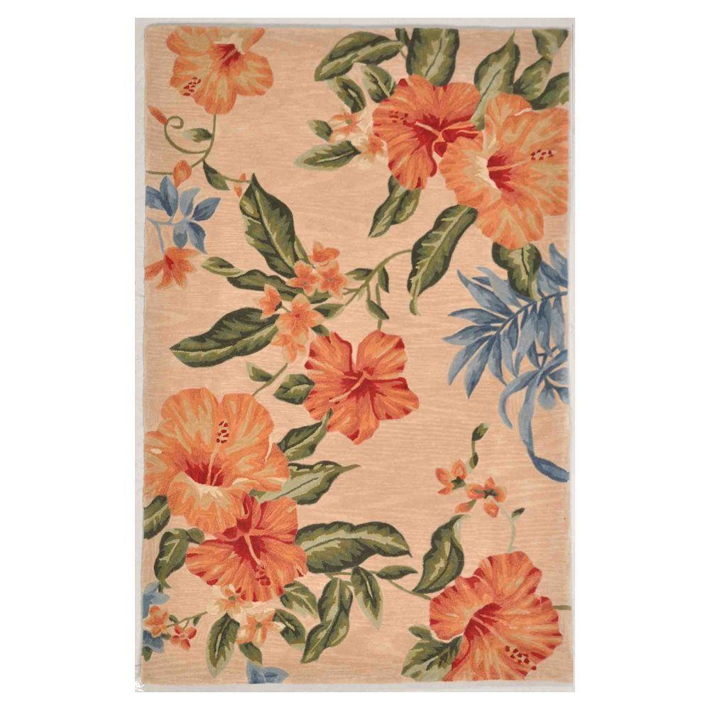 Kas Rugs Blush Hibiscus Peach 5 ft. 3 in. x 8 ft. 3 in. Area Rug