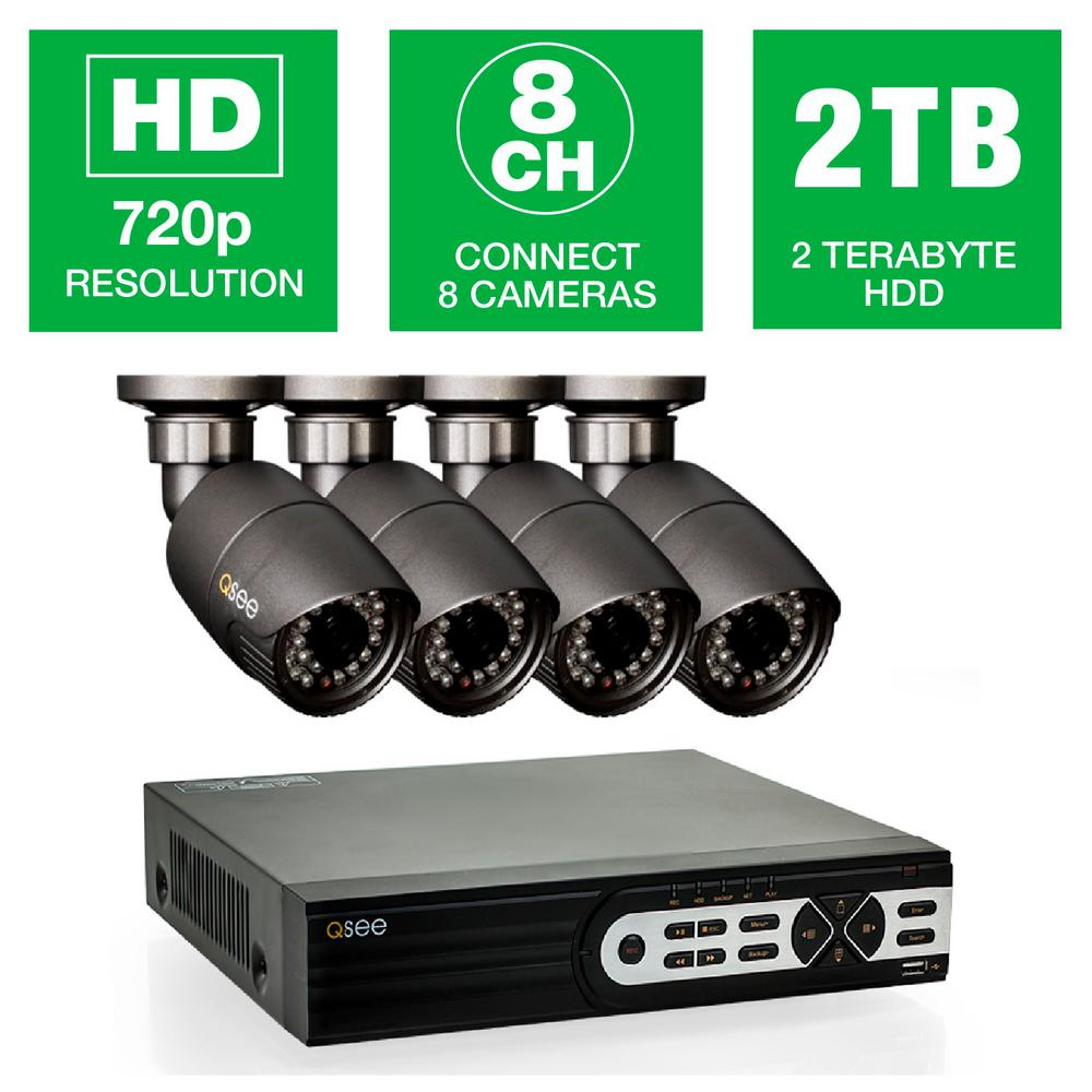8-Channel 720p 2TB Surveillance System with (4) HD Camera 80 ft.