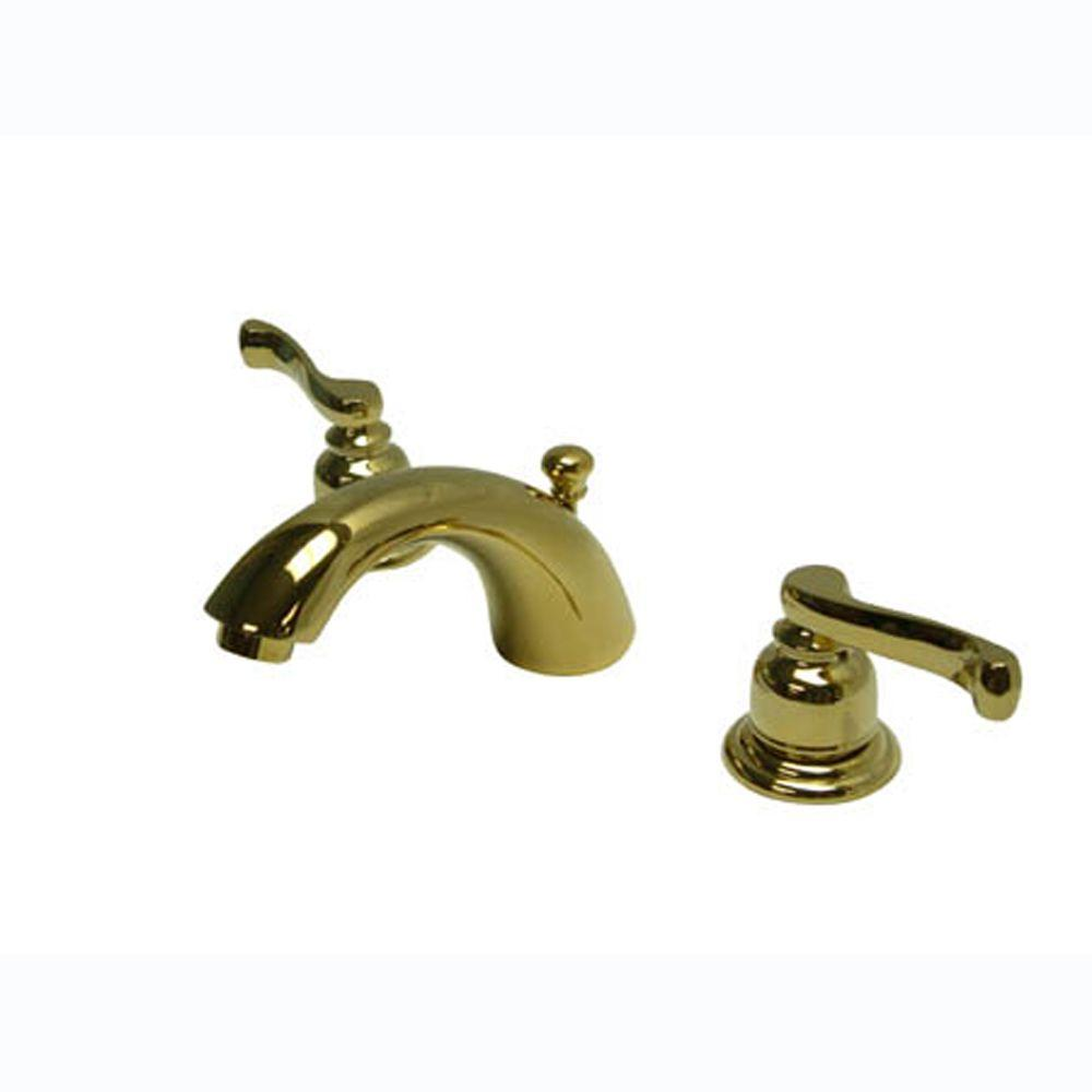 Kingston Brass Royale 4 In Mini Widespread 2 Handle Mid Arc Bathroom Faucet In Polished Brass