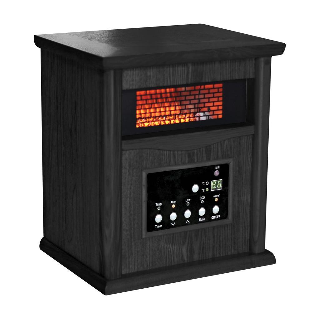 Comfort Zone 750/1500-Watt Infrared Wood Cabinet Quartz Electric Portable Heater with Remote - Black
