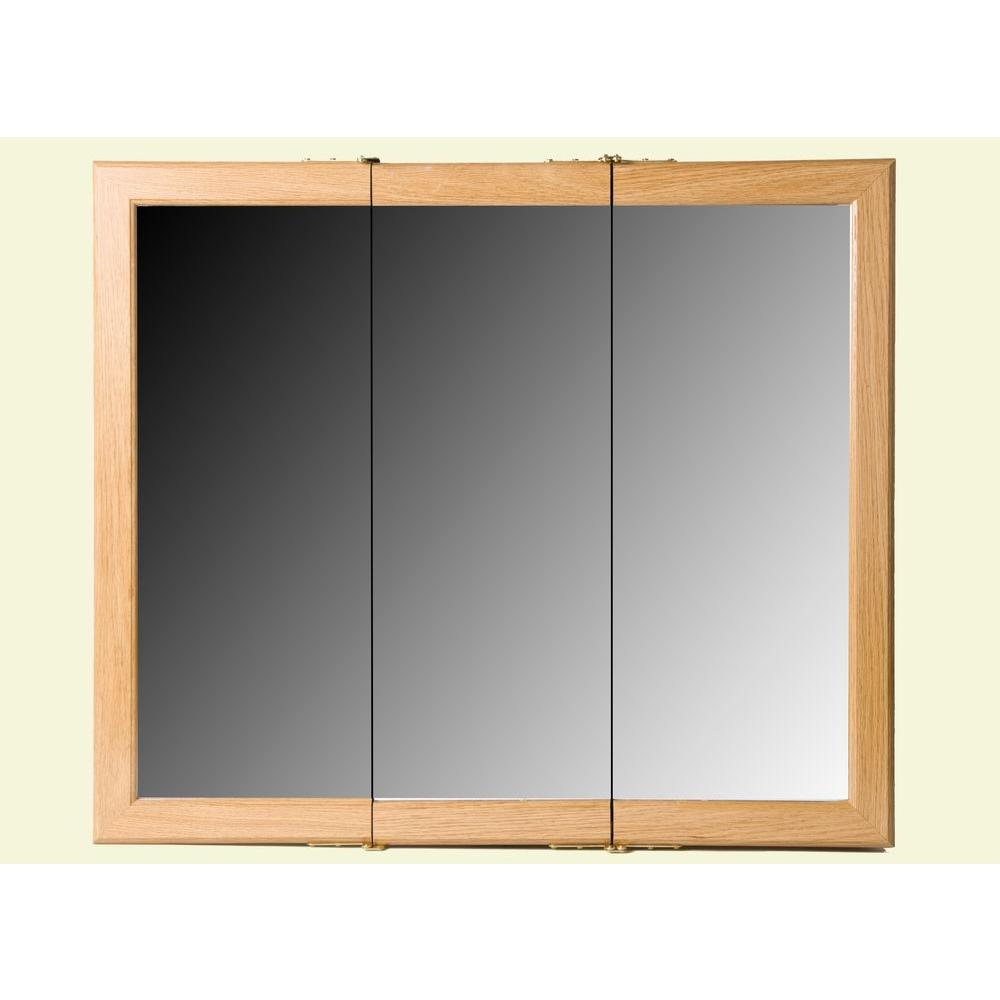 Bionic 30 in. Surface-Mount Mirrored Medicine Cabinet in Oak-DISCONTINUED