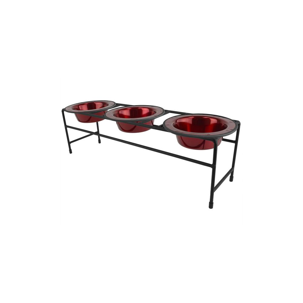 Platinum Pets .75 Cup Triple Modern Diner Feeder with Cat/Puppy Bowls, Candy Apple Red