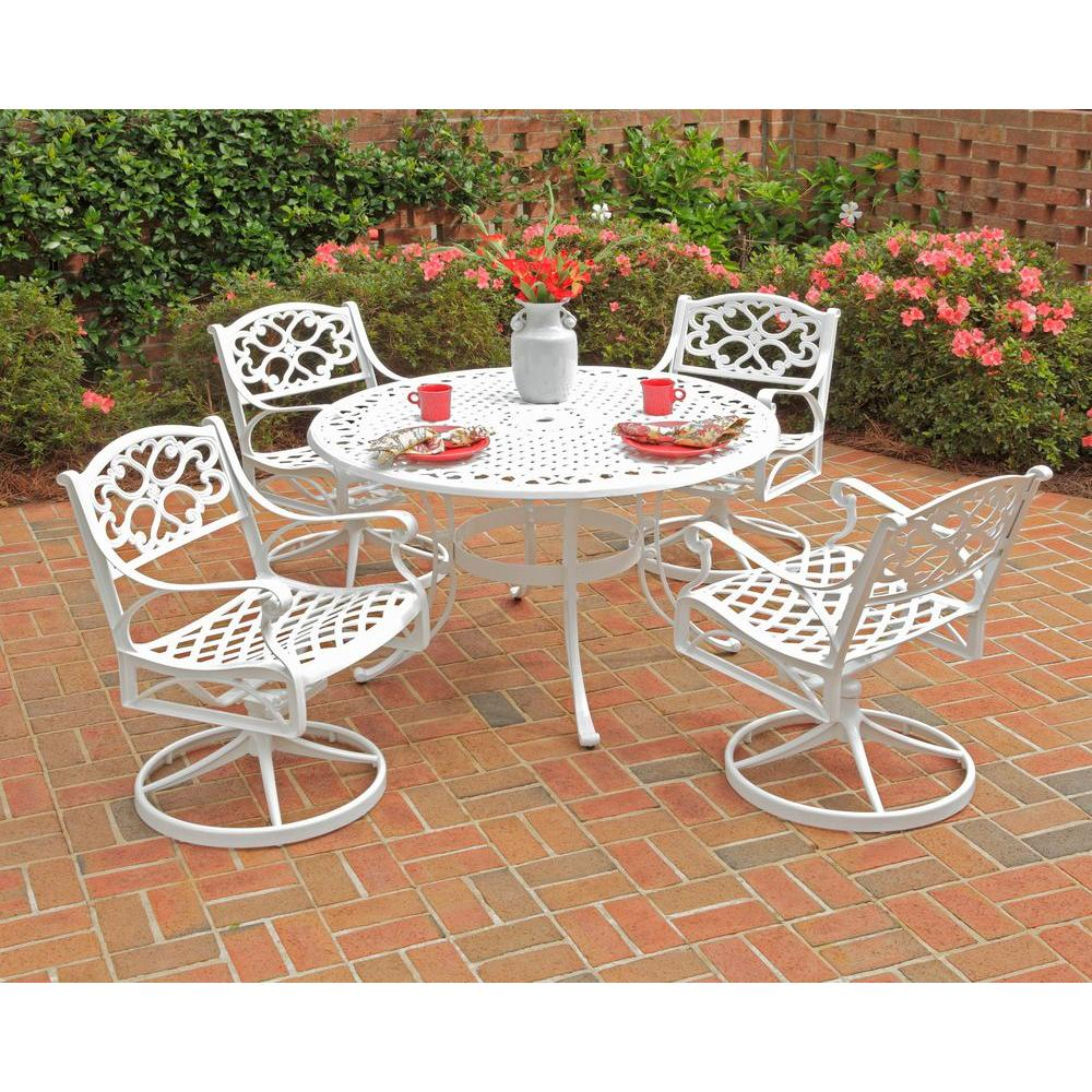 white chairs sets outdoor furniture for small spaces | Home Styles Biscayne 48 in. White 5-Piece Round Swivel ...