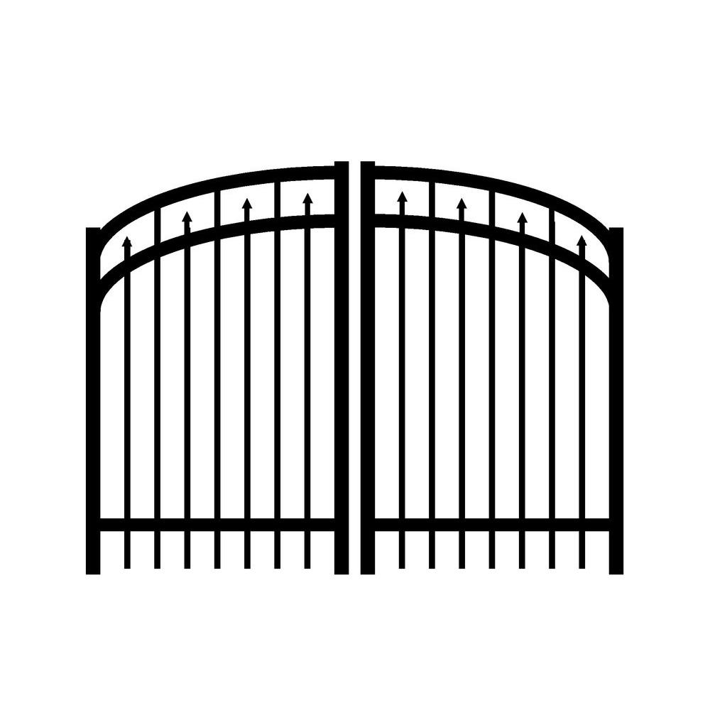 Jerith Adams 6 ft. W x 4.5 ft. H Double Drive Aluminum Black Arched Gate-DISCONTINUED