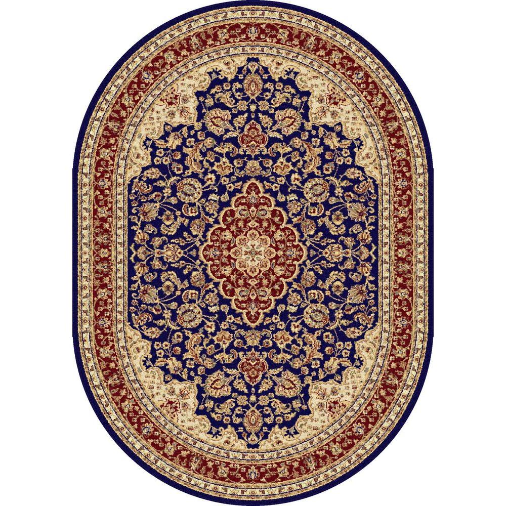 Tayse Rugs Sensation Navy Blue 6 ft. 7 in. x 9 ft. 6 in. Oval Traditional Area Rug