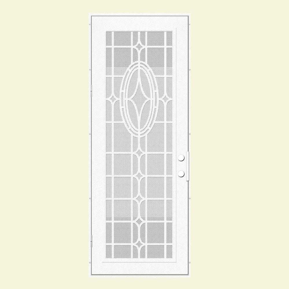 Unique Home Designs 36 in. x 96 in. Modern Cross White Left-Hand Recessed Mount Aluminum Security Door with White Perforated Screen