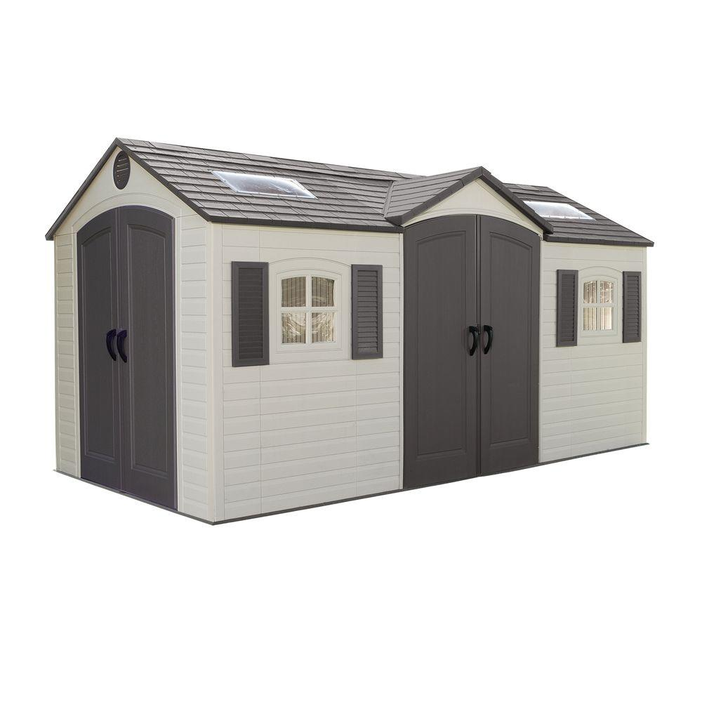15 ft x 8 ft double door storage shed