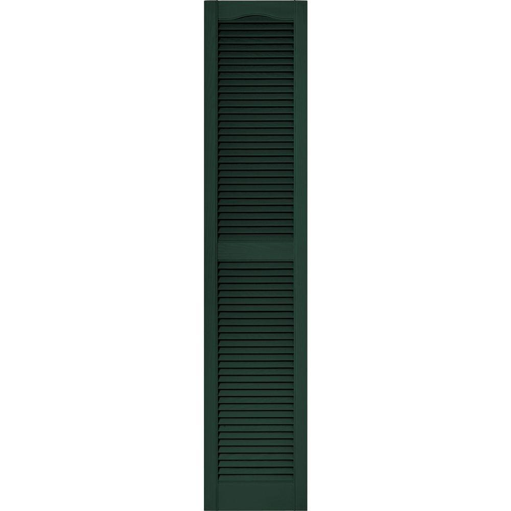 Builders Edge 15 in. x 80 in. Louvered Vinyl Exterior Shutters Pair #122 Midnight Green