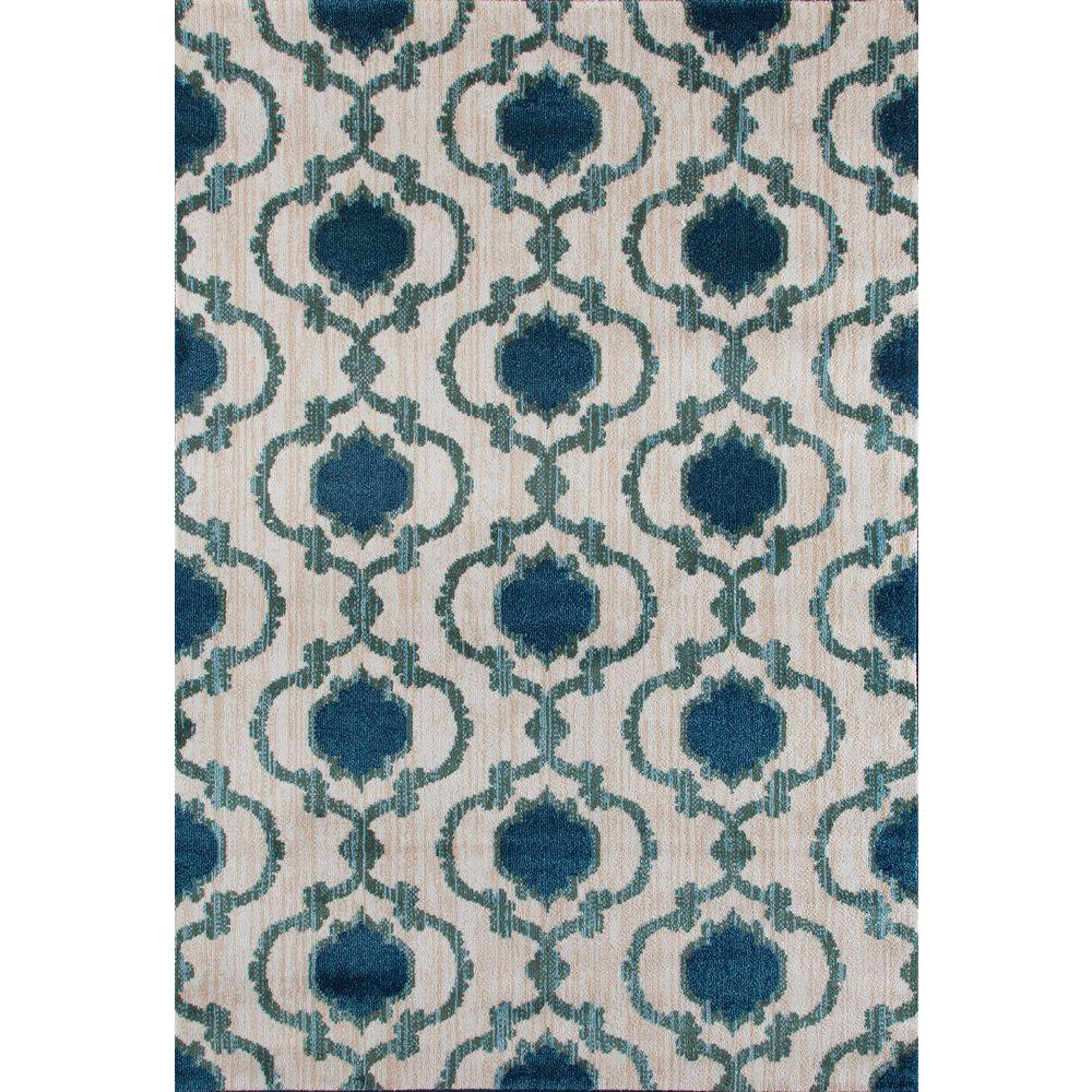 World Rug Gallery Modern Moraccan Trellis Cream/Blue 7 ft. 10 in.