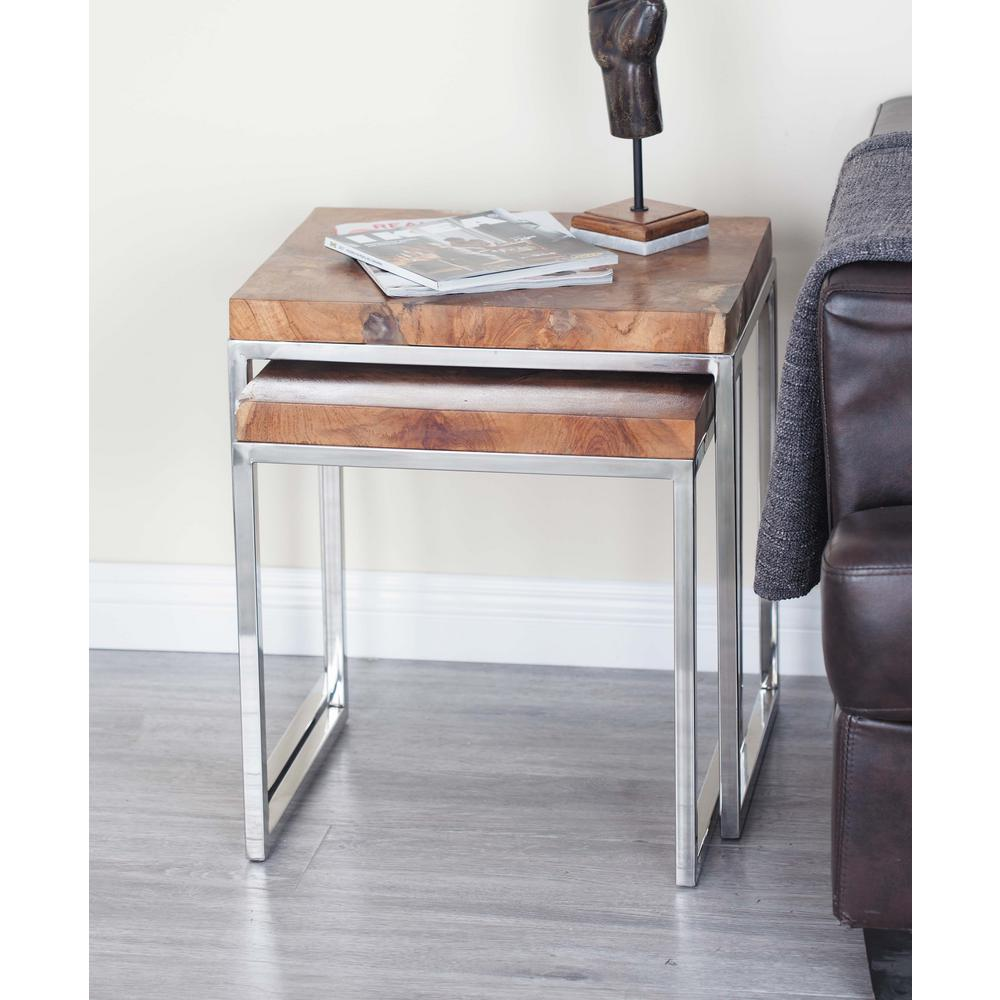 Modern Teak Wood and Stainless Steel Square Side Table Set In