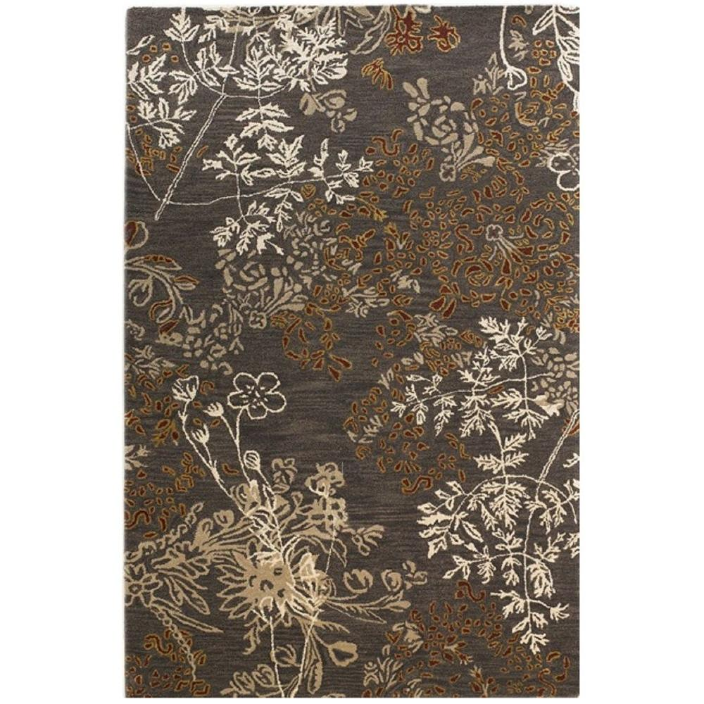 Linon Home Decor Ashton Collection Charcoal and Gold 5 ft. x 8 ft. Indoor Area Rug