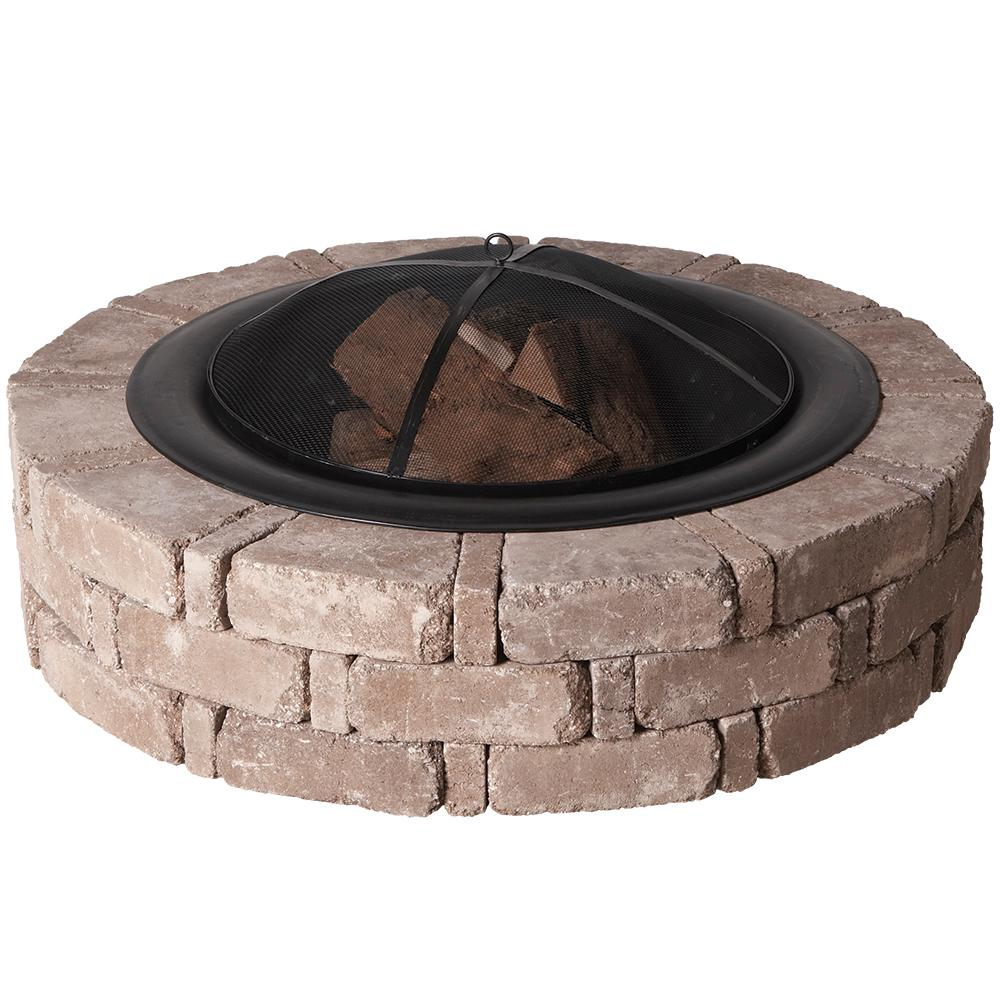 Pavestone RumbleStone 46 in. x 10.5 in. Round Concrete Fire Pit Kit No. 1 in Cafe