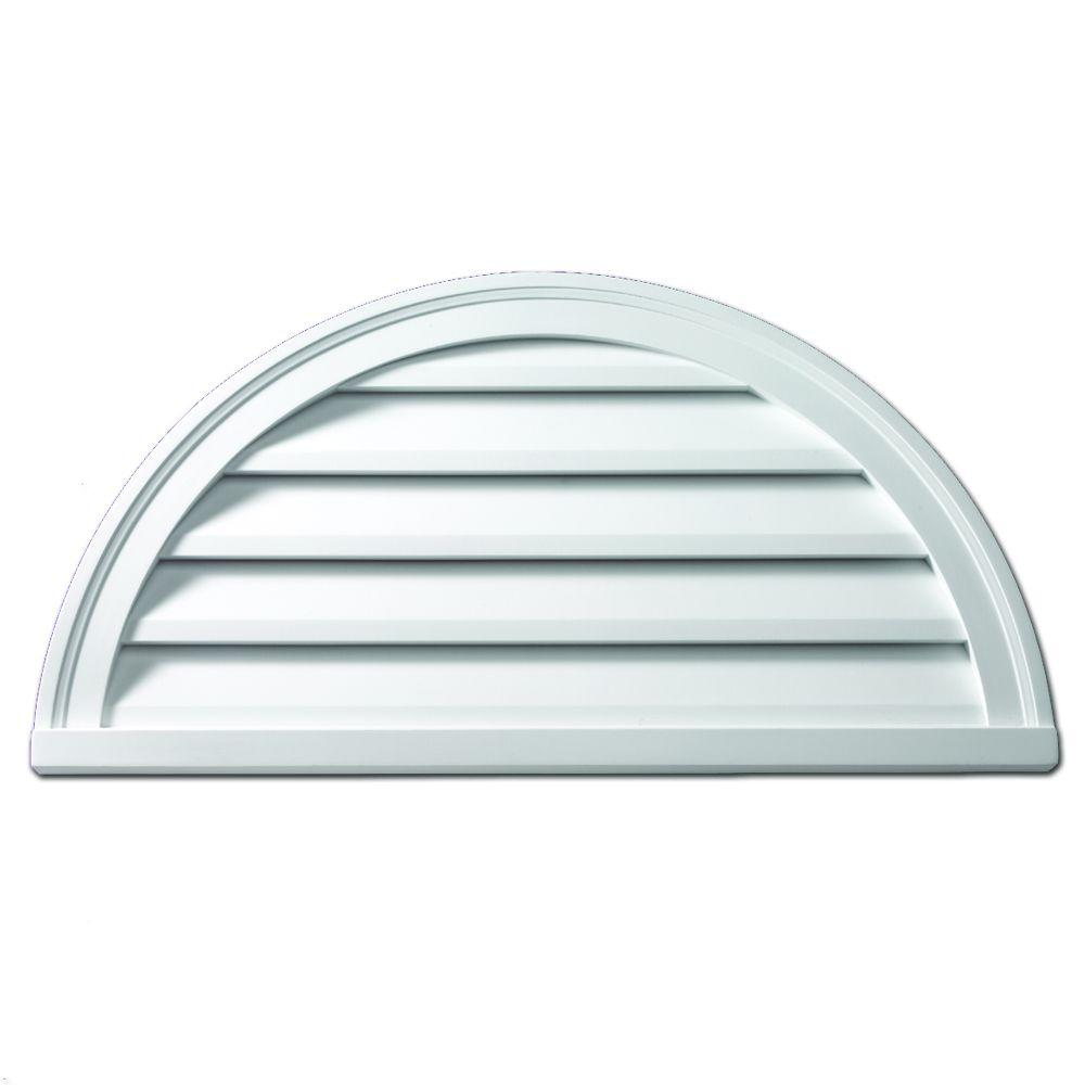 Fypon 42 in. x 21 in. x 2 in. Polyurethane Decorative Half Round Louver