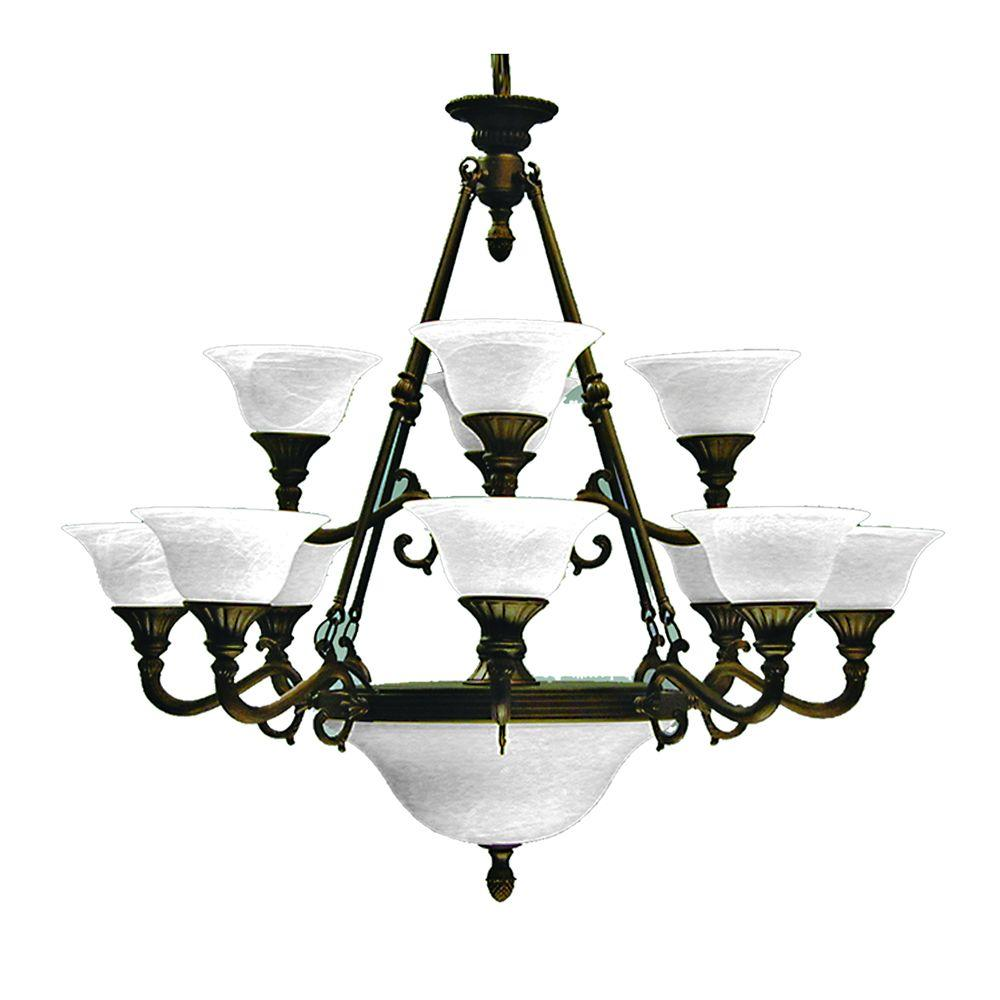 Marquis Lighting 15-Light Old English Bronze Chandelier