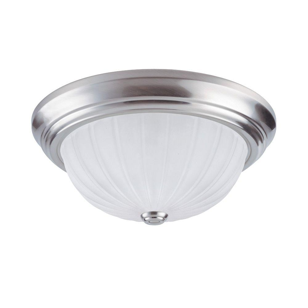 Westinghouse 2-Light Brushed Nickel Interior Ceiling Flushmount with Frosted