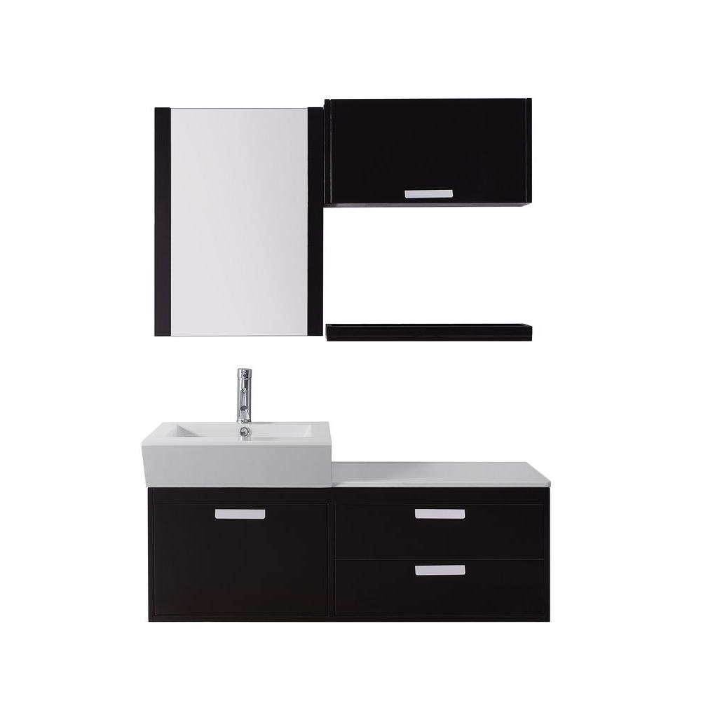 Virtu USA Alicia 51 in. Single Basin Vanity in Espresso with Stone Vanity Top in White and Mirror