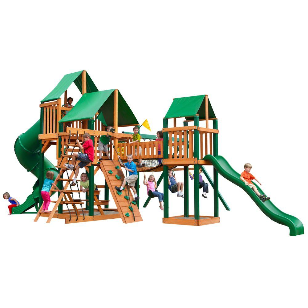 Gorilla Playsets Treasure Trove with Timber Shield and Deluxe Green Vinyl Canopy Cedar Playset, Browns/Tans