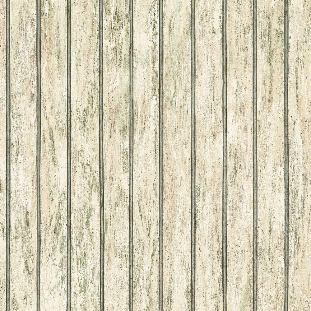The Wallpaper Company 56 sq. ft. Beige Bead Board Wallpaper-DISCONTINUED