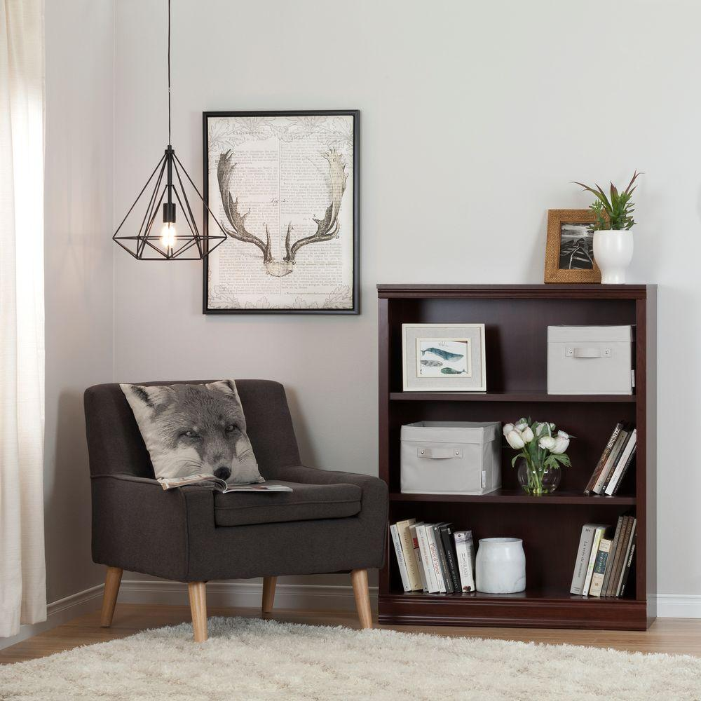 South Shore Morgan 3-Shelf Bookcase with 2 Canvas Storage Baskets in
