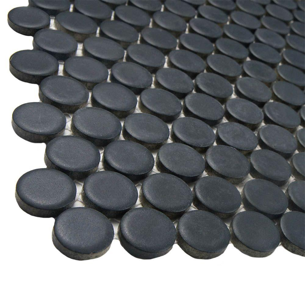 Merola Tile Hudson Penny Round Matte Black 12 in  x 12 5 8 in  x 5 mm  Porcelain Mosaic Tile  10 2 sq  ft    case  FKOMPR22   The Home Depot. Merola Tile Hudson Penny Round Matte Black 12 in  x 12 5 8 in  x 5