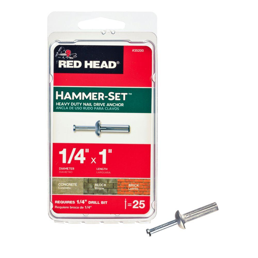 Red Head 1/4 in. x 1 in. Hammer-Set Nail Drive Concrete Anchors (25-Pack)