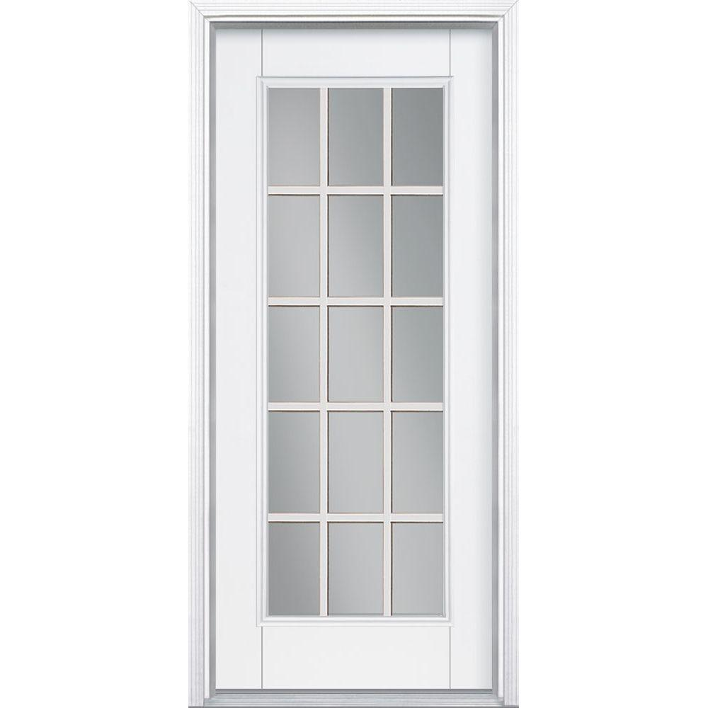 Masonite 32 in. x 80 in. 15 Lite Primed Smooth Fiberglass Prehung Front Door with Brickmold