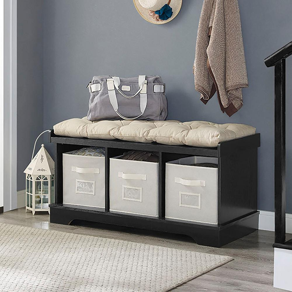 Walker Edison Furniture Company Black Storage Bench Hd42stcbl The Home Depot