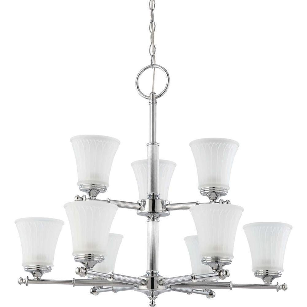 Glomar 9-Light Polished Chrome 2-Tier Chandelier with Frosted Etched Glass Shade