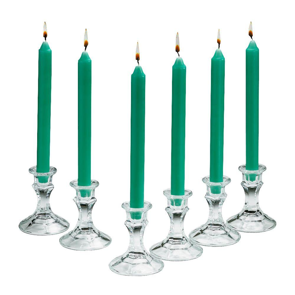Light In The Dark 10 in. Tall 3/4 in. Thick Elegant Aqua Green Unscented Taper Candles (Set of 10)