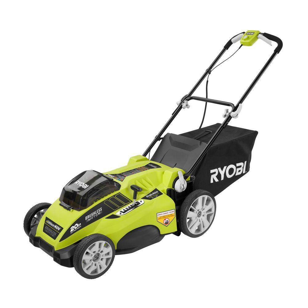 Ryobi Lawn Mowers 20 in. 40-Volt Lithium-Ion Brushless Cordless Walk-Behind Electric Lawn Mower with 2 Batteries RY40170