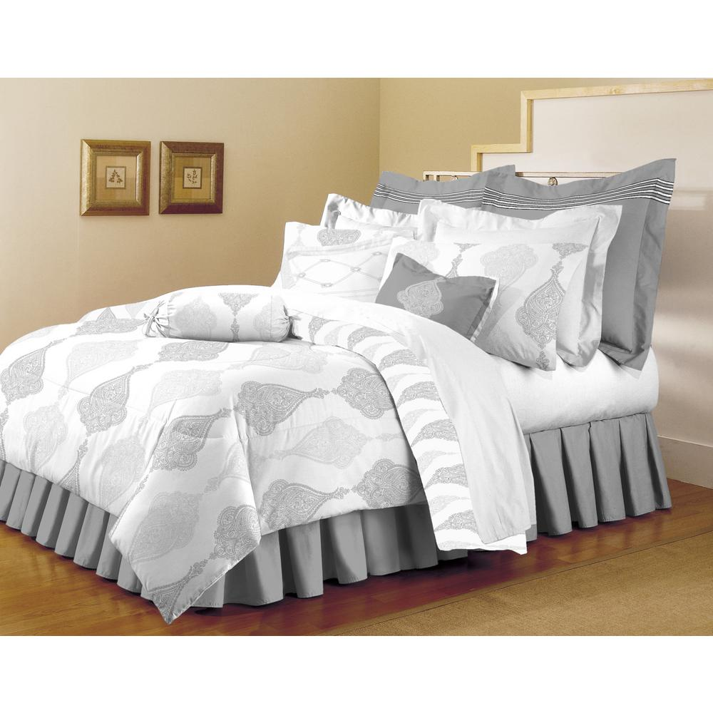 Home Dynamix Classic Trends White-Light Gray 5-Piece Full/Queen Comforter