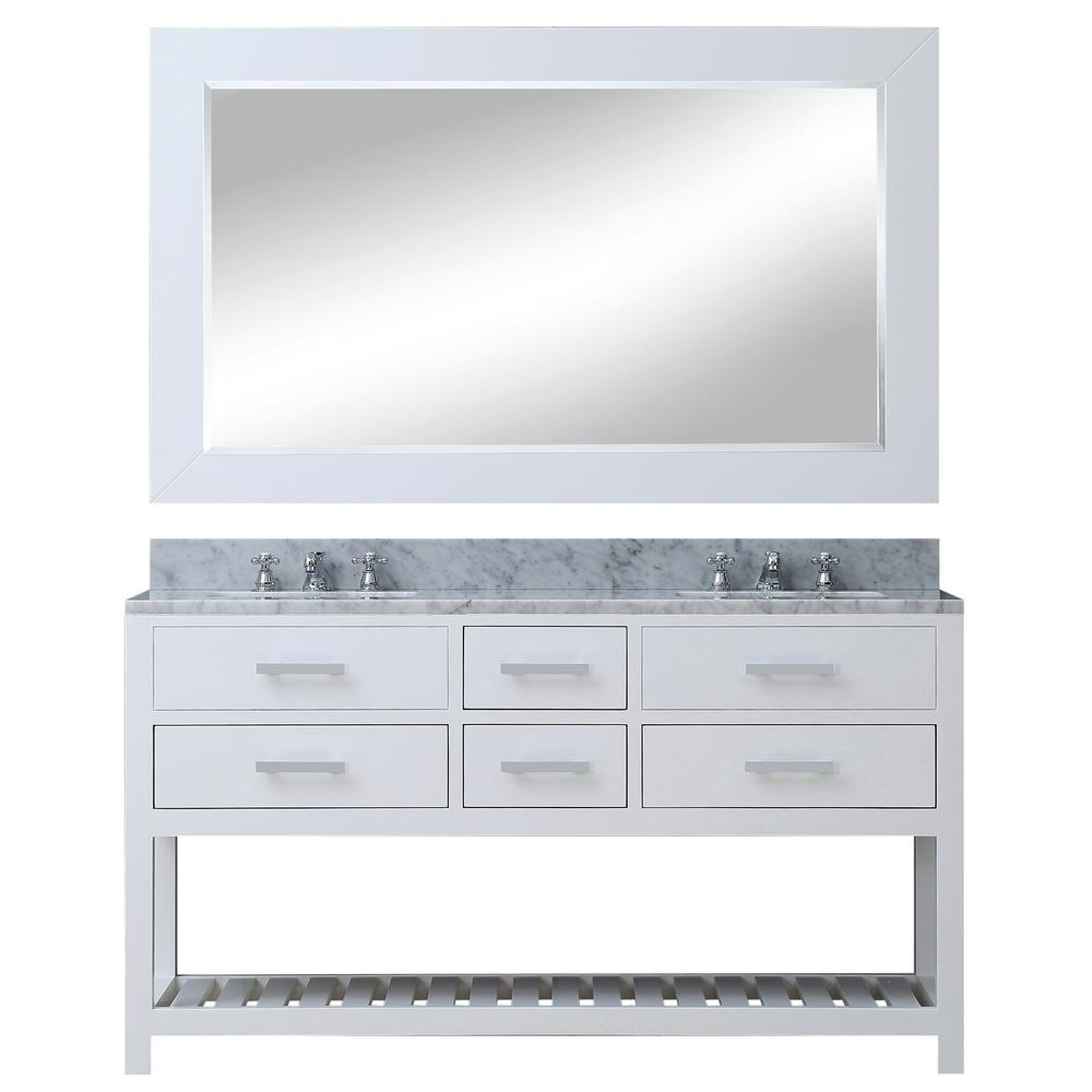 Water Creation 60 in. Vanity in Carrara White with Marble Vanity Top in Carrara White and Mirror