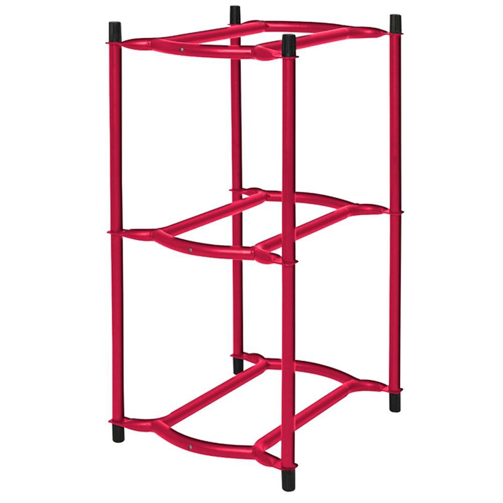 29 in. x 15 in. x 17 in. 3-Tier Modular Water Bottle Rack in Red Sunset