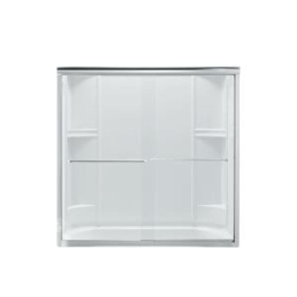 STERLING Finesse 59-5/8 in. x 55-3/4 in. Frameless Sliding Tub Door in Silver with Smooth Glass Texture