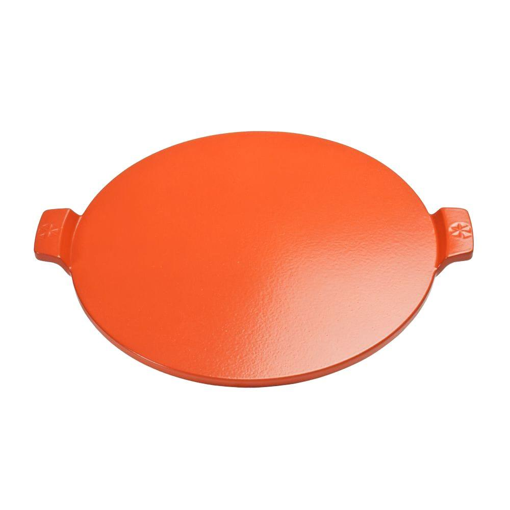 pizzacraft 14.5 in. Round Glazed Pizza Stone in Orange with Handles-PC0109