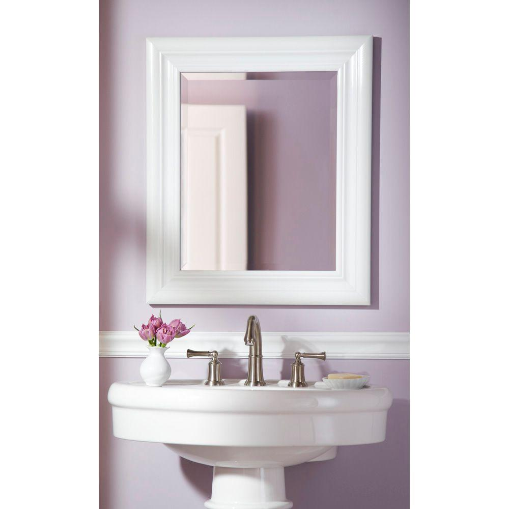 Martha Stewart Living Placid 26-1/2 in. x 23-1/2 in. High Gloss White Framed Wall Mirror