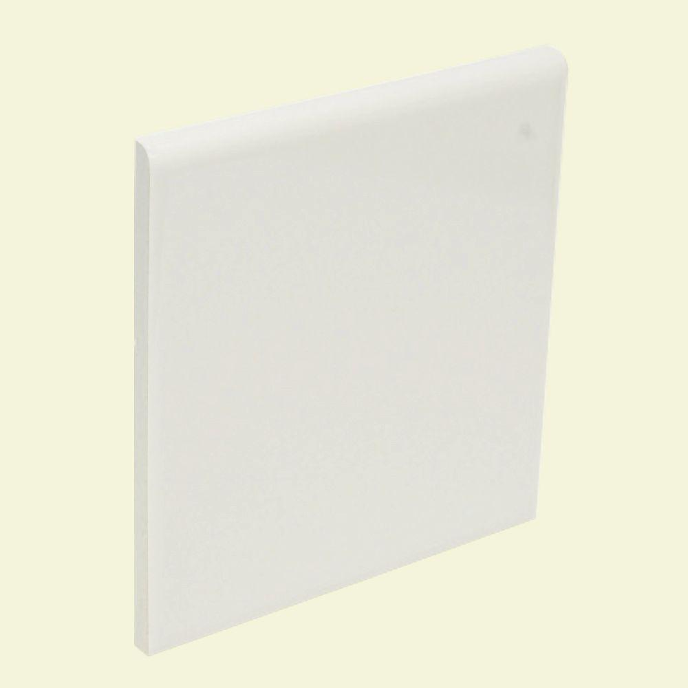 U.S. Ceramic Tile Color Collection Matte Snow White 4-1/4 in. x 4-1/4 in. Ceramic Surface Bullnose Wall Tile-DISCONTINUED
